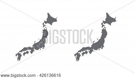Map Of Japan In High Detail Resolution Set. Mesh Lines And Points Form Map Of Japan.