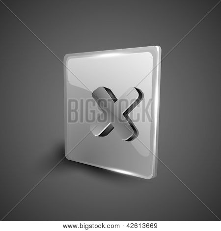Glossy 3D web 2.0 cross mark validation symbol icon set. EPS 10