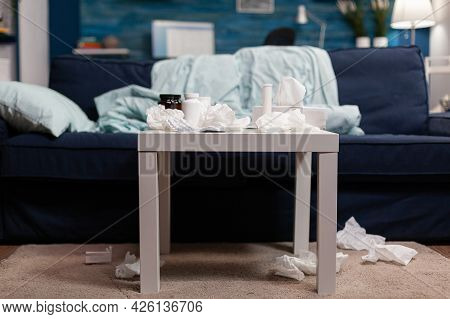 Empty Room With Medicine For Health Sickness And Disease Cold Flu Illness Infection. Table With Pill