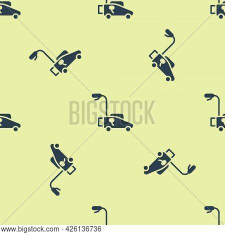 Blue Lawn Mower Icon Isolated Seamless Pattern On Yellow Background. Lawn Mower Cutting Grass. Vecto