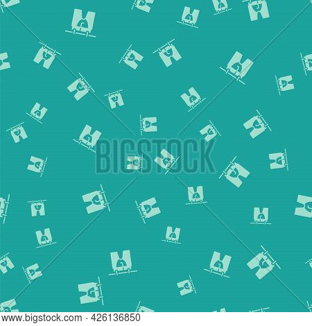 Green Drying Clothes Icon Isolated Seamless Pattern On Green Background. Clean Shirt. Wash Clothes O