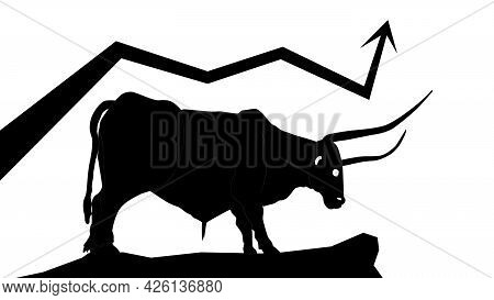 Bull Silhouette With Upward Trending Arrow Isolated On White. Vector Illustration.
