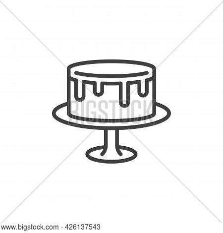 Cake On Stand Line Icon. Linear Style Sign For Mobile Concept And Web Design. Wedding Cake Outline V