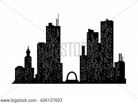 Cityscape Silhouette. Monochrome Panoramic View. Modern Urban Landscape. Horizontal Urban Night Town