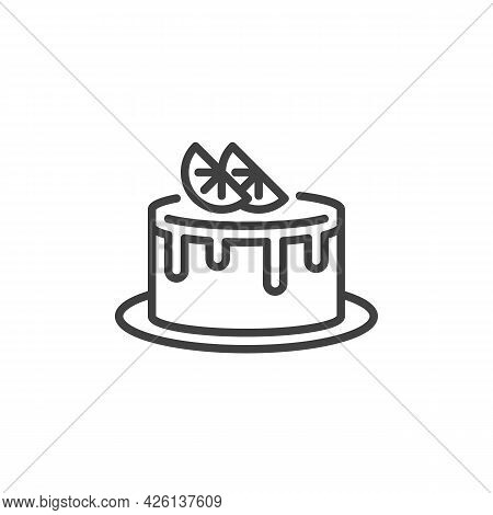 Lemon Cake Line Icon. Linear Style Sign For Mobile Concept And Web Design. Cake With Lemon Slice Out