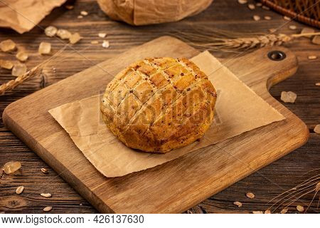 Savory Scones With Roasted Pork Cracklings On Wooden Background