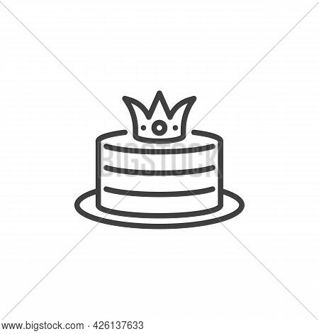 Birthday Cake With A Crown Line Icon. Linear Style Sign For Mobile Concept And Web Design. Cake Outl