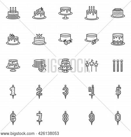 Birthday Cake And Candles Line Icons Set. Linear Style Symbols Collection, Outline Signs Pack. Vecto