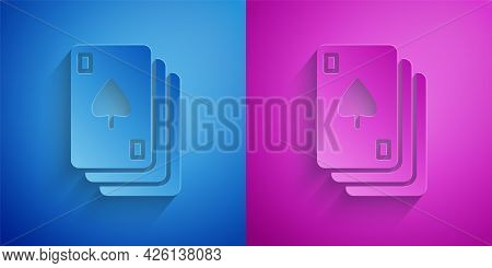 Paper Cut Playing Cards Icon Isolated On Blue And Purple Background. Casino Gambling. Paper Art Styl