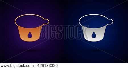 Gold And Silver Yogurt Container Icon Isolated On Black Background. Yogurt In Plastic Cup. Vector