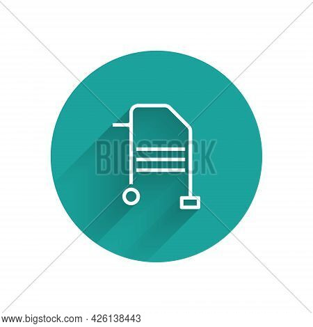 White Walker For Disabled Person Icon Isolated With Long Shadow. Green Circle Button. Vector