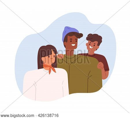 Portrait Of Happy Multiracial Family With Asian Mom, African Dad And Son. Mixed Race Parents With Ch