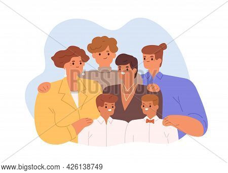 Family Portrait Of Different Generations. Happy Children With Parents And Young Grandparents. Brothe