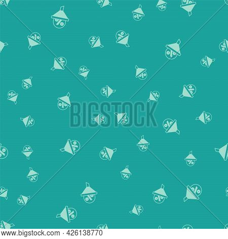 Green Lead Management Icon Isolated Seamless Pattern On Green Background. Funnel With Discount Perce