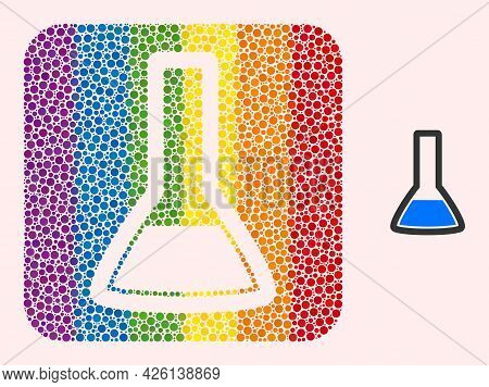 Dotted Mosaic Chemical Retort Stencil Icon For Lgbt. Rainbow Colored Rounded Rectangle Collage Is Ar