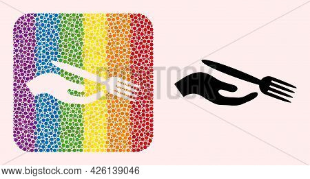 Dotted Mosaic Dining Etiquette Carved Icon For Lgbt. Multicolored Rounded Rectangle Mosaic Is Around