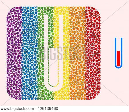 Dot Mosaic Blood Test Tube Hole Icon For Lgbt. Rainbow Colored Rounded Rectangle Mosaic Is Around Bl