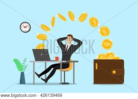 Happy Businessman With Laptop Get Money In Wallet. Online Finance Income Business Man. Joyful Person