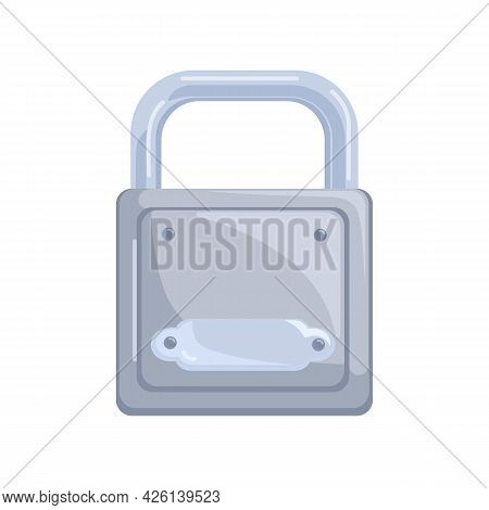 Hanging Closed Metal Glossy Padlock With Locked Strong Steel Shackle. Icon Of Secure Access, Safety