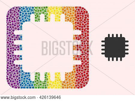 Dotted Mosaic Chip Subtracted Icon For Lgbt. Multicolored Rounded Square Mosaic Is Around Chip Subtr