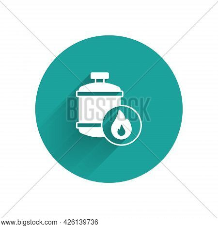 White Propane Gas Tank Icon Isolated With Long Shadow Background. Flammable Gas Tank Icon. Green Cir
