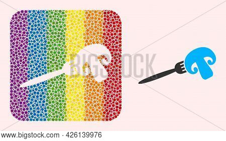 Dot Mosaic Champignon Fork Subtracted Pictogram For Lgbt. Rainbow Colored Rounded Square Mosaic Is A