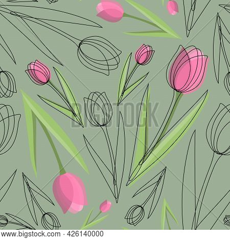Seamless Pattern With Pink And Transparent Tulip Flowers With Black Outlines On A Mint Background. S
