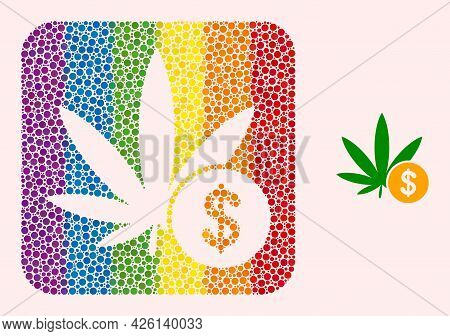 Dotted Mosaic Cannabis Investing Carved Icon For Lgbt. Multicolored Rounded Square Mosaic Is Around