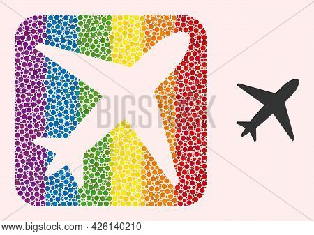 Dot Mosaic Airplane Subtracted Icon For Lgbt. Multicolored Rounded Rectangle Mosaic Is Around Airpla