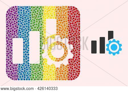 Dot Mosaic Bar Chart Settings Hole Icon For Lgbt. Colorful Rounded Rectangle Mosaic Is Around Bar Ch