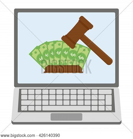 Online Auction With A Cash Bid Via A Laptop, Color Vector Isolated Illustration.