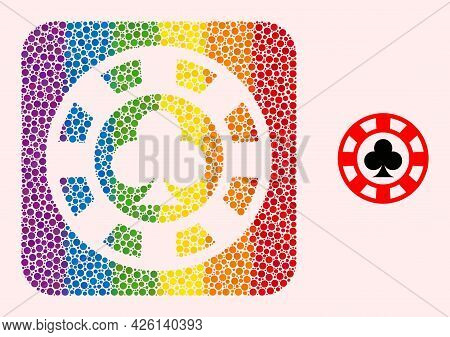 Dotted Mosaic Clubs Casino Chip Stencil Pictogram For Lgbt. Multicolored Rounded Rectangle Mosaic Is
