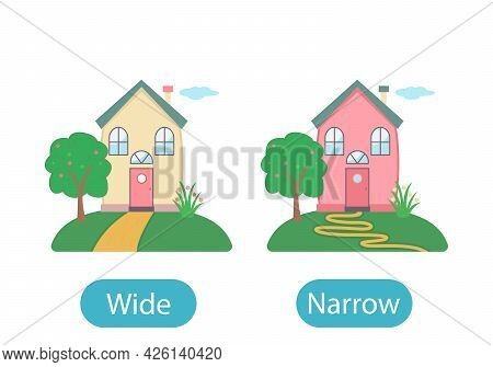 Sweet Home In Cartoon Style With A Narrow And Wide Road. The Concept Of Teaching Children The Opposi