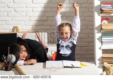 Tired Teacher And Excited Pupil School Girl. Stressed Work In School. Educator Sleepy Face Tired Sit