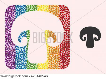 Dotted Mosaic Champignon Mushroom Subtracted Icon For Lgbt. Rainbow Colored Rounded Rectangle Collag
