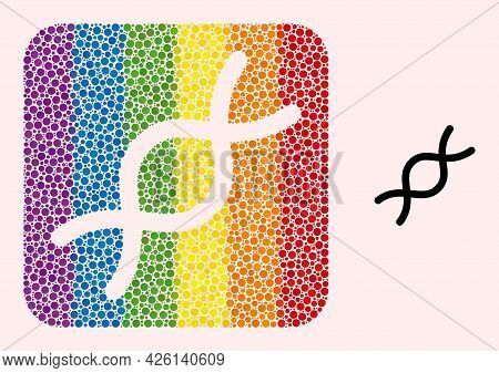 Dot Mosaic Genome Spiral Subtracted Pictogram For Lgbt. Rainbow Colored Rounded Rectangle Collage Is