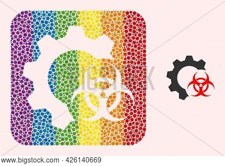 Dotted Mosaic Biohazard Industry Hole Pictogram For Lgbt. Colored Rounded Square Mosaic Is Around Bi
