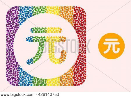 Dot Mosaic Chinese Yuan Coin Stencil Pictogram For Lgbt. Multicolored Rounded Rectangle Mosaic Is Ar