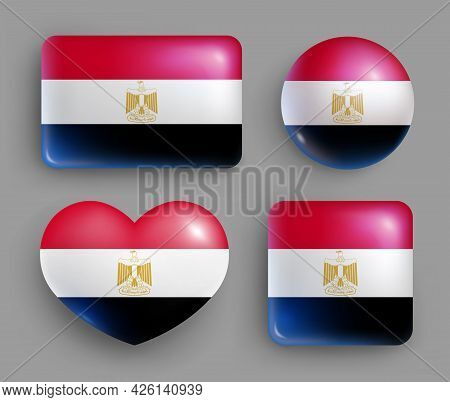 Set Of Glossy Buttons With Egypt Country Flag. Northern African Country National Flag, Shiny Geometr