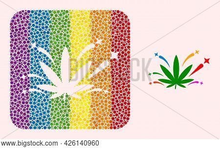 Dot Mosaic Cannabis Euphoria Carved Pictogram For Lgbt. Multicolored Rounded Square Mosaic Is Around