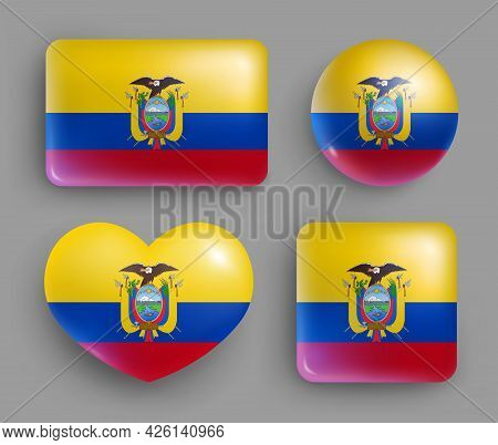 Set Of Glossy Buttons With Ecuador Country Flag. South America Country National Flag, Shiny Geometri