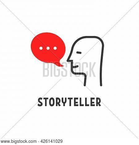 Minimal Storyteller Logo With Human Head. Flat Style Trend Modern Storytelling Logotype Graphic Desi