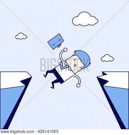 Businessman Falling From Gap Of Cliff. Cartoon Character Thin Line Style Vector.