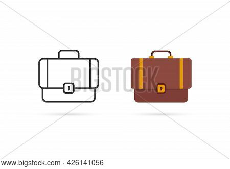 Cartoon And Thin Line Suitcase Two Icon. Concept Of Briefcase For Business Or Office. Flat Stroke St