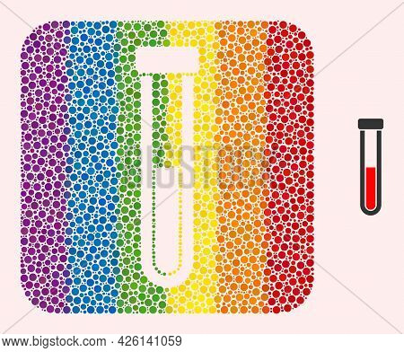 Dotted Mosaic Blood Test-tube Carved Pictogram For Lgbt. Color Rounded Square Mosaic Is Around Blood