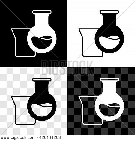 Set Oil Petrol Test Tube Icon Isolated On Black And White, Transparent Background. Vector