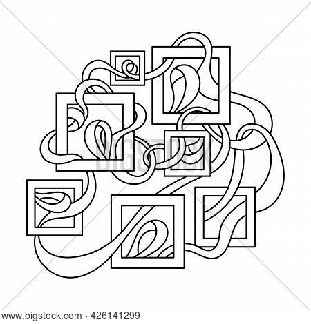 Coloring Book For Adults And Older Children. Maze, Weave Of Ribbons And Square Frames. Hand Drawn Ve