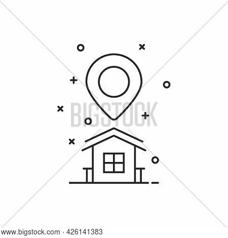 Thin Line Home Location Logo With Pin Marker. Concept Of Abstract Landmark And Travel Geo Tag. Flat