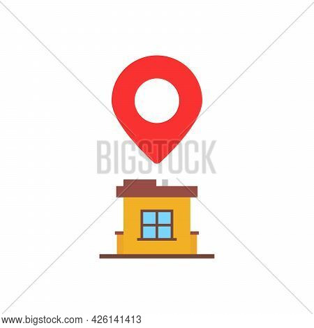 Home Location With Red Pin Marker. Flat Cartoon Style Trend Modern Land Mark Logotype Graphic Art De