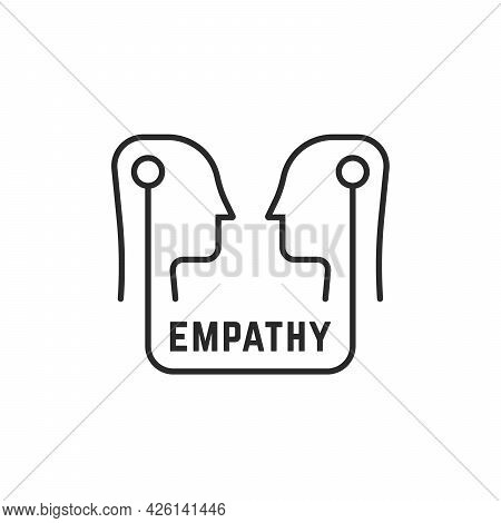 Simple Empathy Icon With Human Heads. Flat Stroke Minimal Care Logotype Graphic Lineart Art Design I